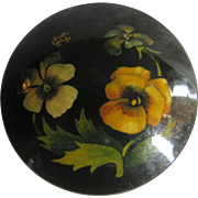 Vintage European Signed Hand Painted Yellow Pansy Black Lacquer Brooch