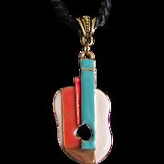 Vintage Oscar de la Renta's Picasso Style 22 Kt GP Enamel Red /Green/White Guitar Pendant on Cord