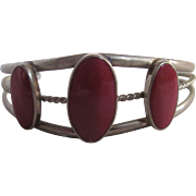 Vintage Hand Crafted Alpaca Mexico Stamped Laminated Graduated Magenta Cabochons Cuff Bracelet