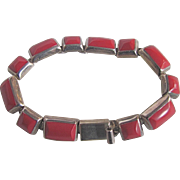 Vintage Hand Crafted Mexico 950 Silver Dyed Coral Square / Rectangular Link Cabochon Slide Clasp Bracelet