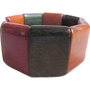 Vintage Lacquered Dyed Wood Link Stretch Bracelet