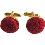 LIttle Creations GP Harris Tweed Hand Made Cabochons Cufflinks Red Mix
