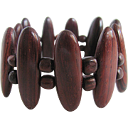 Mid Century Rosewood Phenol Bakelite Lacquered Link Stretch Bracelet