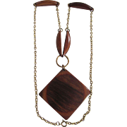 Mid Century Rosewood Phenol Bakelite Lacquered Pendant and Brass Chain Necklace