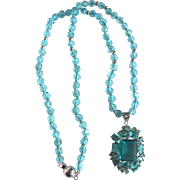 Little Creations Aquamarine Paste with Matching Glass Facetted Beads Pendant Necklace