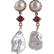 Little Creations Cultured Pearl Cabochon with Lab Created Ruby GP/ Keishi Pearl Drop Pierced Earrings