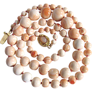 Vintage 18kt GP Conch Graduated Beads 13mm with Moonstone Cabochon Necklace Certified Appraisal $2850