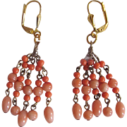 Vintage Natural Angel Skin Pink Coral Wired Bead Chandelier Leverback Pierced Earrings
