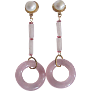 Little Creations GP Cultured Freshwater Pearls Amethyst Beads Lucite Hoops Dangling Pierced Earrings