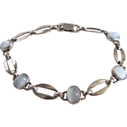 Art Deco Sterling Silver Moonstone Link Bracelet Signed wRe Certified Appraisal $915