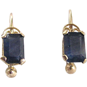 Vintage 14kt Natural Blue Sapphire Gemstones Leverback Pierced Earrings Certified Appraisal $760