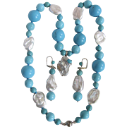 Little Creations Biwa & Blister Cultured Pearls and Turquoise Enhanced Beads Earrings and Necklace Certified $2585