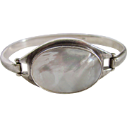 Vintage Mother Of Pearl Cabochon Sterling Silver Cuff Bracelet