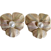 Vintage 9kt AA Cultured Pearl Signed Krementz Tri Colored Gold Screw Back Earrings $995