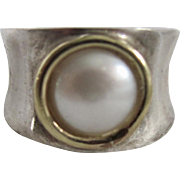 Vintage 18kt Gold Italian Silver and Cultured Mabe Pearl Size 8 Ring Certified Appraisal $840