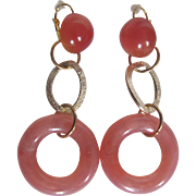 Little Creations Luscious Lucite Cabochon and Hoop Droops Dormeuse Pierced Earrings