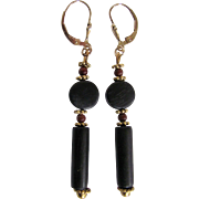 Little Creations 14k Spanish Jet and Natural Amber Spacer Bead Pierced Leverback Earrings