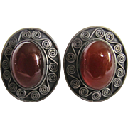 Vintage Sterling Silver Carnelian Cabochon Pierced Earrings