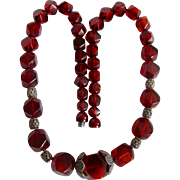 Art Deco Galalith Facetted Graduated Deep Ruby Red Beads with Screw cap Closure Necklace