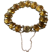 Early Mid 20th Century GP Citrines Box Claw Fashion 14 Gems with Boutonniere Box Clasp Bracelet Certified Appraisal $1585