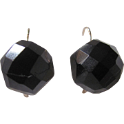 Antique 14kt Whitby Jet Facetted Domed Demi-Dodecahedron Cabochon Lever Back Pierced Earrings