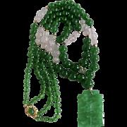 Little Creations Graduated Green Quartz Rose Quartz Jadeite Cabochon Double Strand Necklace and Pendant