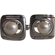 Mid Century Vintage Sterling Silver Cultured Akoya Pearl Cufflinks