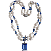 Little Creations Keishi Cultured Pearls with Venetian Blue Bead Necklace and Blue Emerald Cut CZ Enhancer Certified Appraisal $1250