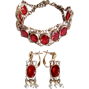 Vintage Bohemian Ruby Paste Gem Bracelet and Omega Pierced Earrings with Cultured Pearls Certified Appraisal $350