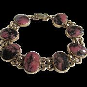 Vintage 10kt GF Rhodonite Cabochon Link Bracelet Certified Appraisal $685