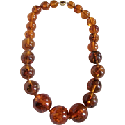 Vintage 18kt GP Natural Amber Huge Bead Graduated Necklace Certified Appraisal $4850