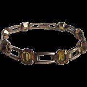 Art Deco 10kt GF Citrine Paste Stones Engel Brothers Link Bracelet Certified Appraisal $395
