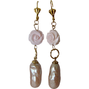 Little Creations 14kt GF Carved Conch and Glass Faux Pearl Teardrops Leverback Pierced Earrings