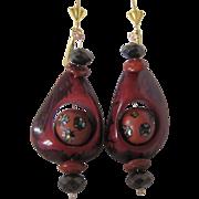 Little Creations Tagua Nut, Clay Inlaid Bead, Hematite, Jasper Dangling Pierced GP* Lever Back Pierced Earrings