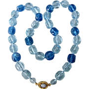 Vintage Lucite Blue Transparent 2 Tone Cubed Bead Necklace
