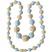 Little Creations Carved Bone Blue Galalith Bead Mix Graduated Necklace