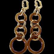 Vintage Natural Amber Graduating 3 Rings /Hoops GP Lever back Pierced Earrings