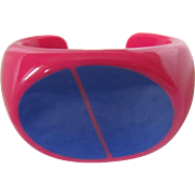 Pop Art Style Fuchsia and Royal Blue Hard Plastic Cuff Bracelet