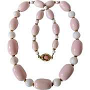 Little Creations 18kt GP Graduated Conch and Barrel Galalith Pink Bead Coral Clasp Necklace