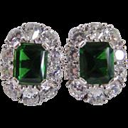 """Vintage """"Empress Boutonniere"""" Sterling Silver Emerald Cut Synthetic Spinel /Pearl Shape CZ Pierced Earrings Certified Appraisal $510"""