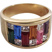 Mid Century 12Kt Rainbow Crystal Paste Baguette Gemstones Size 10 1/2 Ring