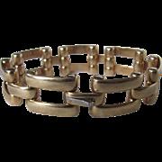 "Art Deco 12K Gold  Signed Simmons Tread or Gate Link Style  7 1/4"" Bracelet Certified Appraisal $3175"