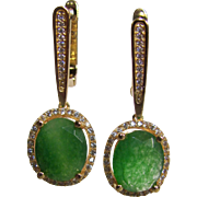 Vintage Vermeil Green Quartz Dyed/Resin Coated CZ Halo Designed Pierced Earrings Certified Appraisal $510