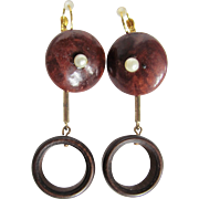 Little Creations Rosewood Wooden and Faux Pearl GP Leverback Pierced Drop Earrings
