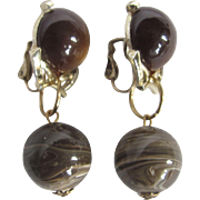 Little Creations Chocolate Moonglow and Marbled Lucite Drop Clip Earrings