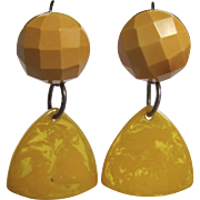 Little Creations Sterling Silver Custom Pierced Lever back Golden Yellow Bakelite / Prystal Drops  Earrings