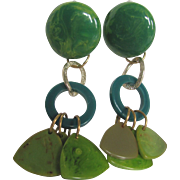 """Little Creations 4"""" Bakelite Green Marbled with Transparent Prystal Swirl Triangles with GP Dormeuse Pierced French Clip- Huge Scale"""