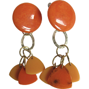 """Little Creations 3 1/2"""" Bakelite Orange with Transparent Prystal Swirl Triangles with GP Dormeuse Pierced French Clip- Huge Scale"""