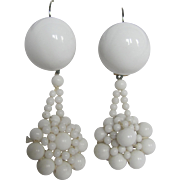 Little Creations Milk Glass Cabochon and Beaded Lace Look Drop Silver Plated Dormeuse Pierced Earrings