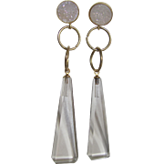 "Little Creations Crystal Druzy Cabochon and Crystal Long Drop 4"" Geometric Shape Pierced Earrings"